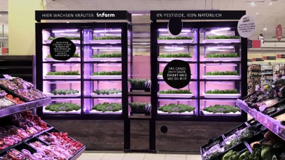 Infarm -- Infarm in Berlin builds compact hydroponic modular units for growing indoors that have found their way into supermarkets in the German city and around Europe. The company says its produce is 100% pesticide-free, and due to it being grown in supermarkets, cuts the time and distance between harvest and consumption.