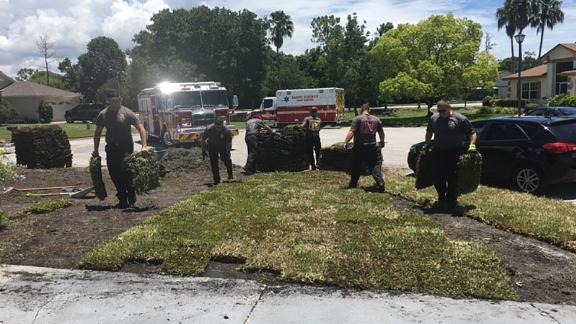 Firefighters in Florida returned to a man's home after saving him to help finish his project.