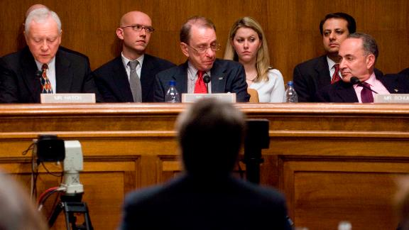 Senators listen to Kavanaugh's testimony during his confirmation hearing in 2006.