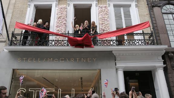 Kylie Minogue, Kate Moss and Stella McCartney at the Stella McCartney flagship store opening party in Mayfair, London in June 2018.