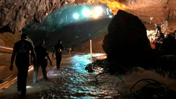 This photo tweeted by tech entrepreneur Elon Musk shows rescue efforts during the three-day mission. Musk tweeted early July 10 that he had visited the cave and left a mini-submarine there for future use.