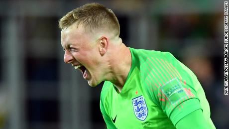 MOSCOW, RUSSIA - JULY 03:  Jordan Pickford of England celebrates following his sides victory in the 2018 FIFA World Cup Russia Round of 16 match between Colombia and England at Spartak Stadium on July 3, 2018 in Moscow, Russia.  (Photo by Dan Mullan/Getty Images)