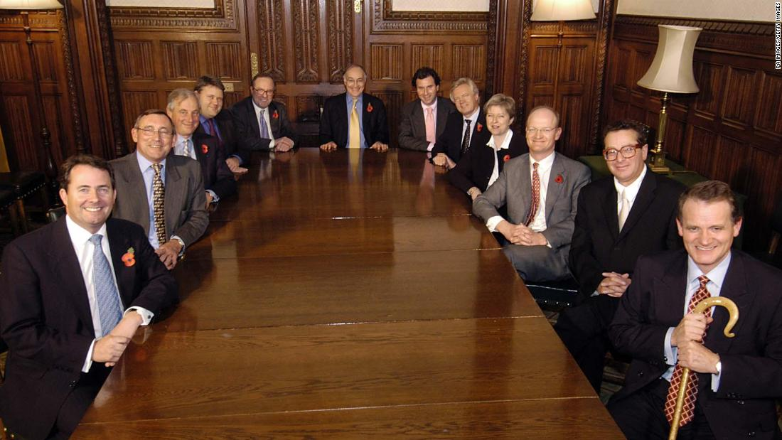 May and the rest of the shadow Cabinet in November 2003. The shadow Cabinet is the opposition party's senior leadership. May held various posts while in Parliament.