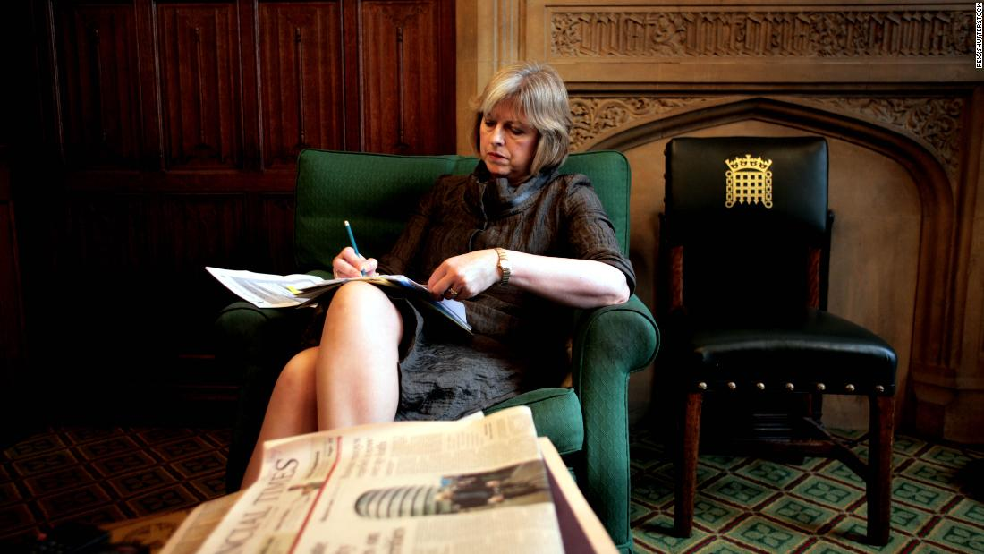 May works in her House of Commons office in January 2009.