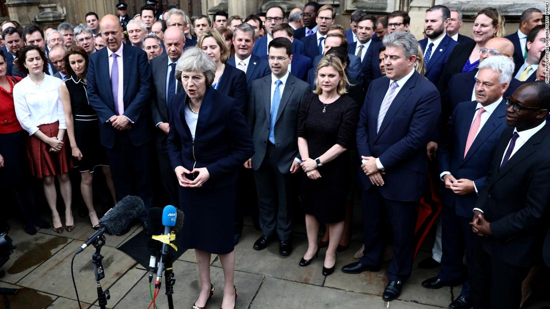 "May addresses at a news conference in London in July 2016. She was on course to succeed Cameron as Prime Minister after her only opponent, Andrea Leadsom, dropped out. <a href=""https://www.cnn.com/2016/07/11/europe/britain-politics-may-leadsom/"" target=""_blank"">Cameron resigned after the UK</a> voted to leave the European Union."