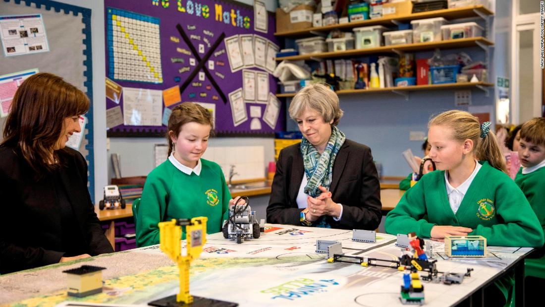 May visits a primary school in Bootle, England, in February 2017.