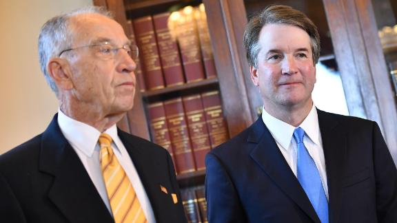 Supreme Court associate justice nominee Brett Kavanaugh (R) attends a meeting with Chuck Grassley, R-IA, chairman of the Senate Judiciary Committee, at the US Capitol in Washington, DC on July 10, 2018. (Photo by MANDEL NGAN / AFP)        (Photo credit should read MANDEL NGAN/AFP/Getty Images)