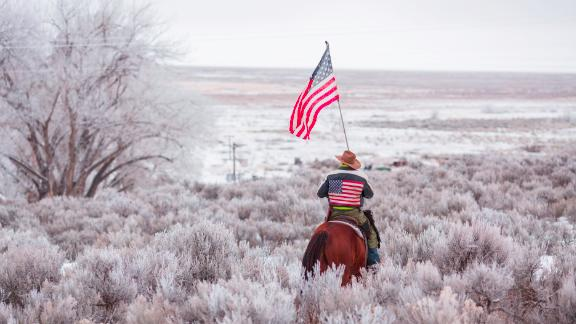 Duane Ehmer rides his horse Hellboy at the occupied Malheur National Wildlife Refuge on the sixth day of the occupation of the federal building in Burns, Oregon on January 7, 2016. The leader of a small group of armed activists who have occupied a remote wildlife refuge in Oregon hinted on Wednesday that the standoff may be nearing its end. Rob Kerr/AFP/Getty Images