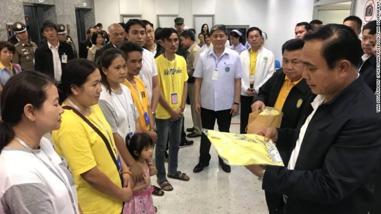 Prime minister Prayut Chan-ocha gives support to families of the rescued boys and thanks hospital staff for taking care of the Wild Boar soccer team members being treated at Chiang Rai Prachanukroh hospital.