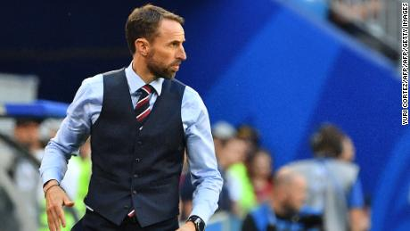 England's coach Gareth Southgate looks on during the Russia 2018 World Cup quarter-final football match between Sweden and England at the Samara Arena in Samara on July 7, 2018. (Photo by Yuri CORTEZ / AFP) / RESTRICTED TO EDITORIAL USE - NO MOBILE PUSH ALERTS/DOWNLOADS        (Photo credit should read YURI CORTEZ/AFP/Getty Images)