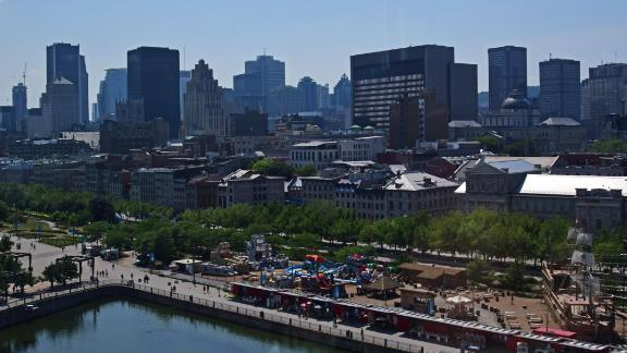 Skyline of Montreal, Canada, as seen from the Grande Roue De Montreal ferris wheel in the Old Port on July 2, 2018. (Photo by EVA HAMBACH / AFP)        (Photo credit should read EVA HAMBACH/AFP/Getty Images)