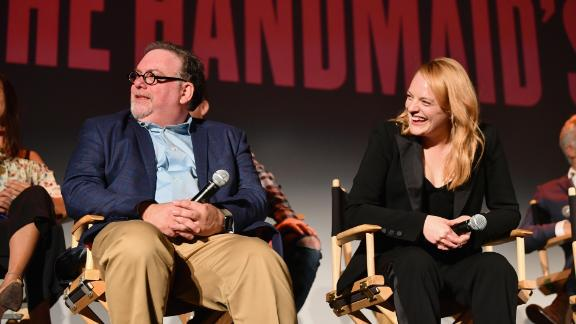 """Executive producer Bruce Miller and Elisabeth Moss speak onstage during """"The Handmaid"""