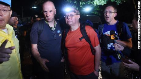 Three British cave-divers, Rick Stanton, Robert Harper  and John Volanthen arrive at Khun Nam Nang Non Forest Park near the Tham Luang cave in Chiang Rai on June 27, 2018.