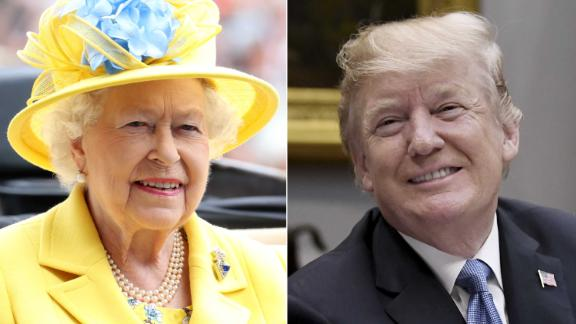 LEFT: ASCOT, ENGLAND - JUNE 19:  Queen Elizabeth II arrives by carriage to Royal Ascot Day 1 at Ascot Racecourse on June 19, 2018 in Ascot, United Kingdom.  (Photo by Chris Jackson/Getty Images)  RIGHT: US President Donald Trump speaks during a working lunch in the Roosevelt Room of the White House, in Washington, DC, on June 21, 2018. (Photo by Olivier Douliery / AFP)        (Photo credit should read OLIVIER DOULIERY/AFP/Getty Images)