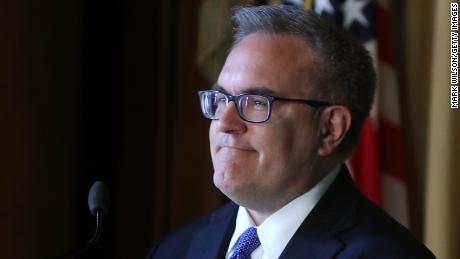 Acting EPA Administrator Andrew Wheeler speaks to staff at the Environmental Protection Agency headquarters on July 11, 2018 in Washington, DC. If confirmed by the U.S. Senate, Wheeler will replace Scott Pruitt who resigned last week. (Mark Wilson/Getty Images)
