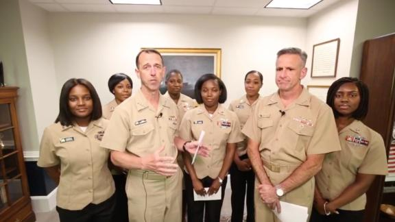 Chief of Naval Operations Adm. John Richardson, front left, and Chief of Naval Personnel Adm. Robert Burke, front right, announced changes to the Navy
