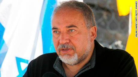 Israeli Defence Minister Avigdor Lieberman speaks to the press during a visit at the Israel-Syria border in the annexed Golan Heights on Tuesday.