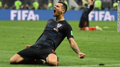 Croatia's defender Dejan Lovren celebrates at the end of the Russia 2018 World Cup semi-final football match between Croatia and England at the Luzhniki Stadium in Moscow on July 11, 2018.