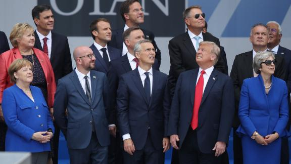 BRUSSELS, BELGIUM - JULY 11:  (From L to R, first row) German Chancellor Angela Merkel, Belgian Prime Minister Charles Michel, NATO Secretary General Jens Stoltenberg, U.S. President Donald Trump and British Prime Minister Theresa May attend the opening ceremony at the 2018 NATO Summit at NATO headquarters on July 11, 2018 in Brussels, Belgium. Leaders from NATO member and partner states are meeting for a two-day summit, which is being overshadowed by strong demands by U.S. President Trump for most NATO member countries to spend more on defense.  (Photo by Sean Gallup/Getty Images)