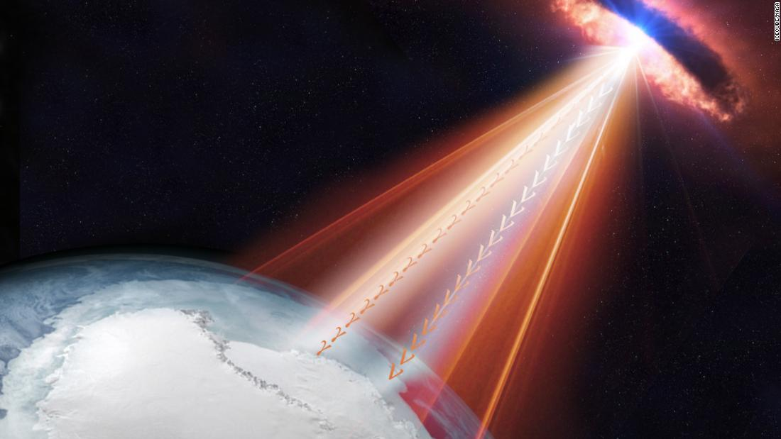 Scientists and observatories around the world were able to trace a high-energy neutrino to a galaxy with a supermassive, rapidly spinning black hole at its center, known as a blazar. The galaxy sits to the left of Orion's shoulder in his constellation and is about 4 billion light-years from Earth.