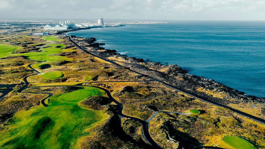 The front nine holes are some of the most challenging with the course located in a lava field. The back nine is located on former farmland on the Hvaleyri peninsula.