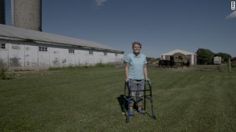 Alyssa Gilderhus on her family's farm in Sherburn, Minnesota.