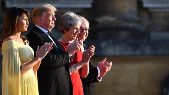 (L-R on the steps) US First Lady Melania Trump, US President Donald Trump, Britain