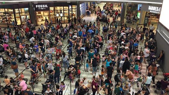 The lines for Mall of America's Build-A-Bear Workshop are closed after large crowds flooded locations on Thursday.
