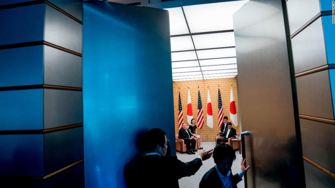 US Secretary of State Mike Pompeo meets with Japanese Prime Minister Shinzo Abe inside Abe's office in Tokyo on Sunday, July 8. Pompeo was in Tokyo after two days of talks in North Korea.