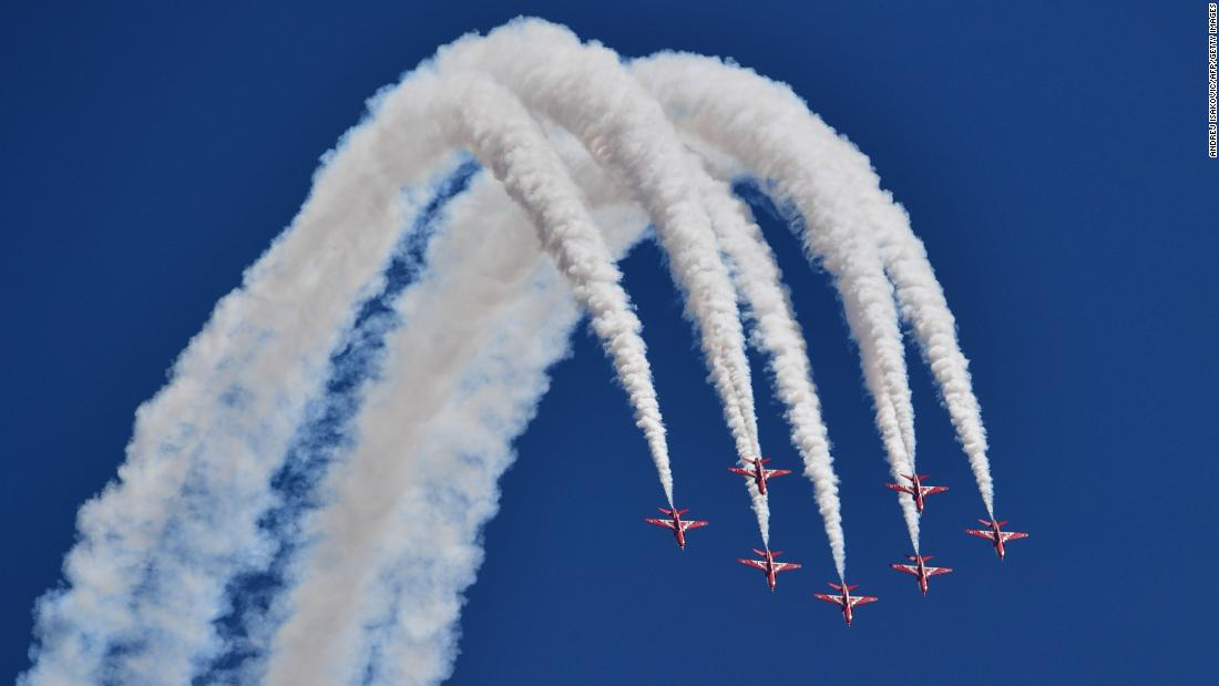 The Red Arrows, the aerobatic team of the British Royal Air Force, perform in Silverstone, England, before the Formula One race on Sunday, July 8.