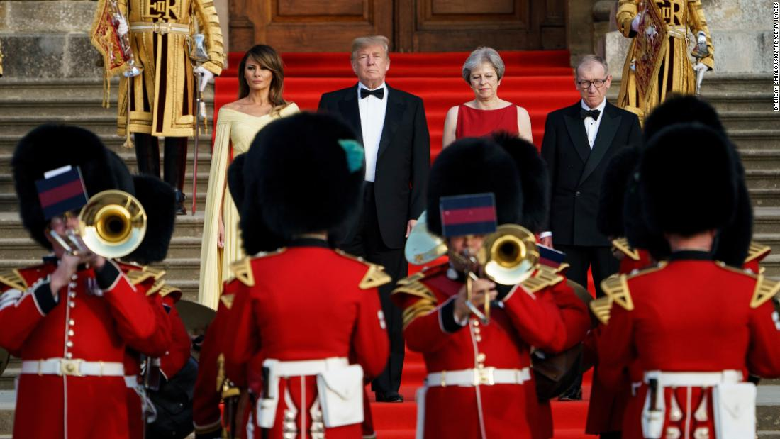 US President Donald Trump and his wife, Melania, receive a ceremonial welcome as they attend a black-tie dinner hosted by British Prime Minister Theresa May on Thursday, July 12.