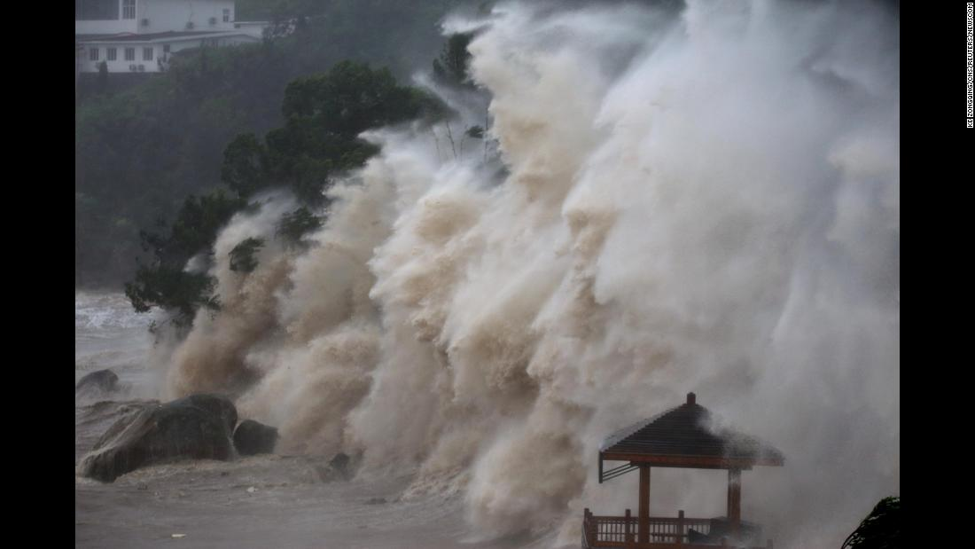 Waves brought by Typhoon Maria lash the shore in Wenzhou, China, on Wednesday, July 11.