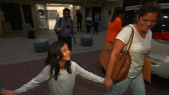 CNN has new video in-house of Cindy Madrid and her daughter Alisson after their reunion early Friday morning in Houston.