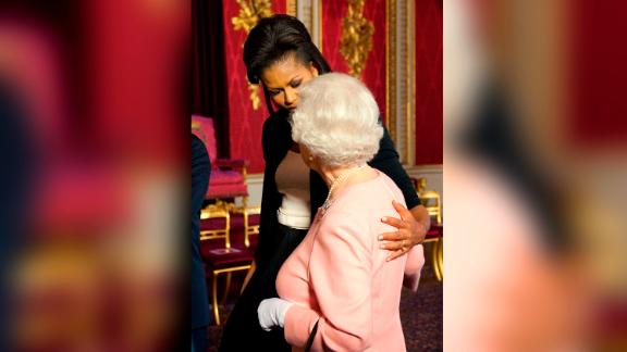 Michelle Obama came under fire for touching Queen Elizabeth in April  2009.