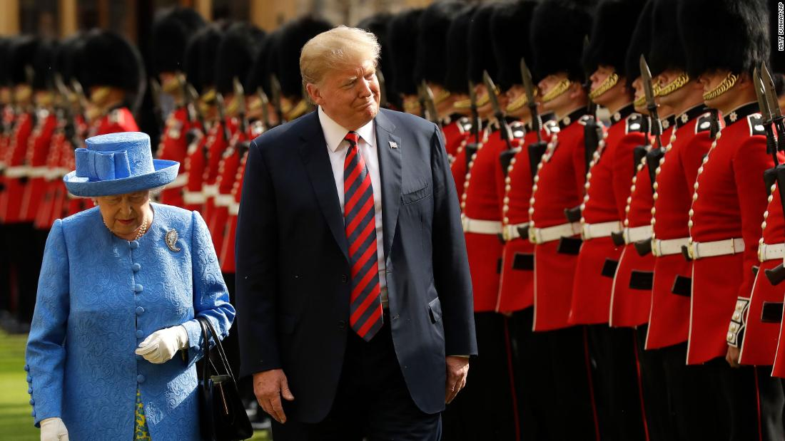 Britain's Queen Elizabeth II and US President Donald Trump inspect a guard of honor during Trump's visit to Windsor Castle in July 2018. Since the Queen ascended to the throne in 1952, 11 US presidents have been elected. She has met with all of them except Lyndon B. Johnson.