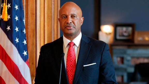 "Indiana Attorney General Curtis Hill speaks during a news conference at the Statehouse in Indianapolis, Monday, July 9, 2018. Hill is rejecting calls to resign, saying his name ""has been dragged through the gutter"" amid allegations that he inappropriately touched a lawmaker and several other women. The Republican said during the news conference that he stands ""falsely and publicly accused of abhorrent behavior."" (AP Photo/Michael Conroy)"