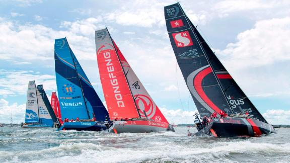 The start of Leg 11 at the Volvo Ocean Race in Gothenburg, Sweden, is pictured on June 21, 2018. - The Volvo Ocean Race set off on the last leg of its round-the-world odyssey on Thursday, 21 June, with three boats effectively tied for the lead. (Photo by Thomas JOHANSSON / TT News Agency / AFP) / Sweden OUT        (Photo credit should read THOMAS JOHANSSON/AFP/Getty Images)