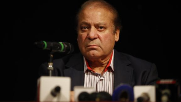 Pakistan's former prime minister Nawaz Sharif speaks during a UK PMLN Party Workers Convention meeting with supporters in London on July 11, 2018. - Pakistan's former prime minister Nawaz Sharif was sentenced in absentia to 10 years in prison by a corruption court in Islamabad Friday, lawyers said, dealing a serious blow to his party's troubled campaign ahead of July 25 elections. (Photo by Tolga AKMEN / AFP)        (Photo credit should read TOLGA AKMEN/AFP/Getty Images)