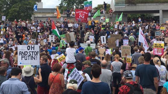 An-anti-Trump crowd outside Scotland's Parliament in Edinburgh.