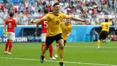 SAINT PETERSBURG, RUSSIA - JULY 14:  Thomas Meunier of Belgium celebrates after scoring his team's first goal during the 2018 FIFA World Cup Russia 3rd Place Playoff match between Belgium and England at Saint Petersburg Stadium on July 14, 2018 in Saint Petersburg, Russia.  (Photo by Catherine Ivill/Getty Images)