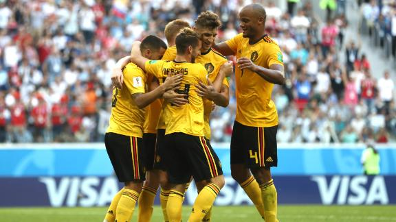 Belgian players celebrate Eden Hazard