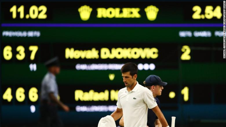 Novak Djokovic took the crucial third set versus Rafael Nadal before play was called for the evening due to Wimbledon's 11 p.m. local time curfew Friday.