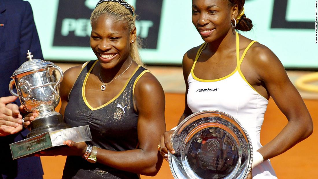 Conquering clay. Serena beats sister Venus at Roland Garros 7-5 6-3 in 2002 to claim her second grand slam at the French Open.