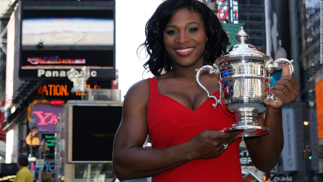 Serena on Times Square with the US Open trophy, a title she won without dropping a set at the 2008 tournament.