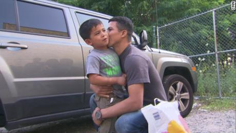 Eris Ramirez and his son, Jostin, are reunited in the Bronx after nearly 2 months apart on Saturday, June 14.