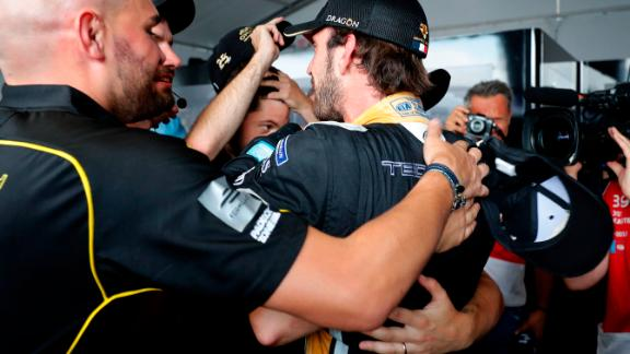 The title race was also settled on that day -- with one race to spare. Jean-Eric Vergne celebrated with his Techeetah team after collecting enough points to win the championship.