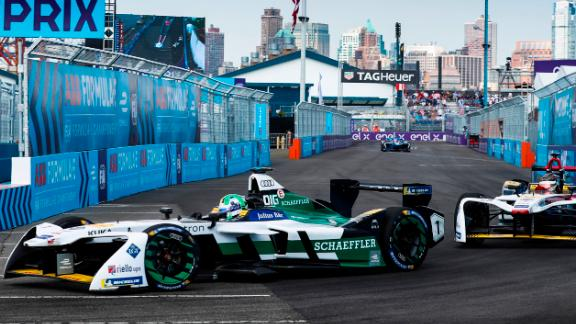 He led an Audi one-two finish in the first race of a New York doubleheader -- the finale to the season.