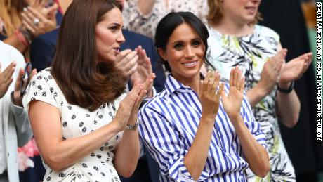 Catherine and Meghan pictured together at Wimbledon in 2018.