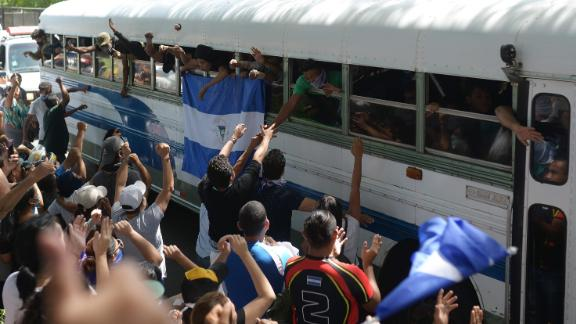 Students who had hidden in a Managua church were taken Saturday by bus to a cathedral.