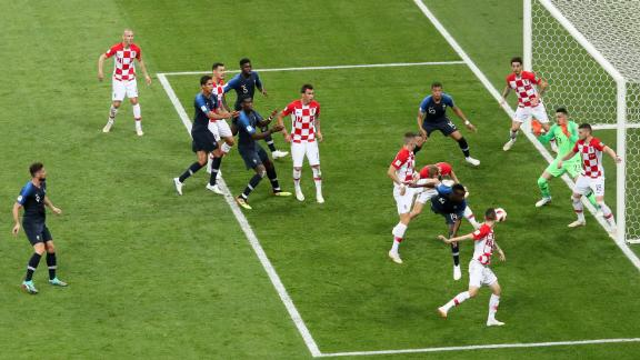 The referee used video review on this play late in the first half and called for a penalty after Ivan Perisic handled the ball in the Croatian box. Antoine Griezmann stepped up to convert the penalty and give France a 2-1 lead.